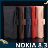 NOKIA 8.3 復古純色保護套 皮質側翻皮套 磨砂皮紋 支架 插卡 磁扣 手機套 手機殼 諾基亞