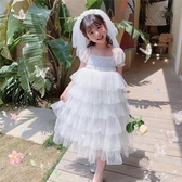 女童禮服 兒童蛋糕裙泡泡袖網紗裙女童白色公主裙洋裝禮服裙花童裙 Ballet朵朵