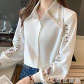 長袖雪紡衫女春裝新款氣質襯衫設計感小眾復古寬鬆刺繡上衣潮 可然精品