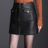 加厚加棉高腰皮裙女2020款氣質秋冬顯瘦包臀裙半身裙一步皮短裙 雙十一全館免運