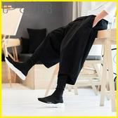 【YPRA】假兩件內搭褲 假兩件民族風復古闊腿褲男寬鬆燈籠褲加肥加大碼低檔垮褲哈倫褲男