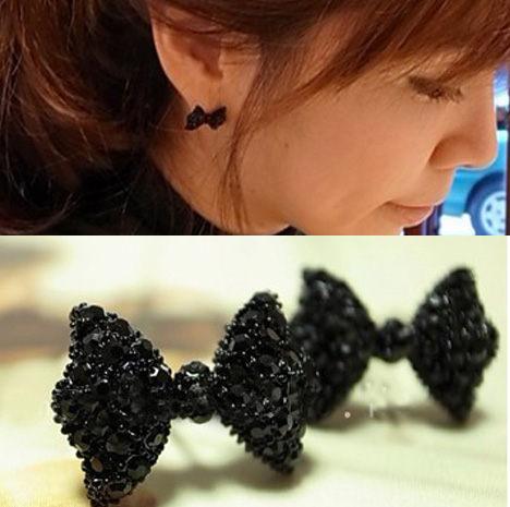 ►蝴蝶結滿鑽耳釘 2013 最新 韓版鑲鑽 耳環 【B1003】