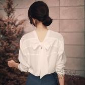 雪紡上衣 秋裝新款白色雪紡襯衫女設計感小眾洋氣上衣輕熟小衫薄款襯衣 雙十二全館免運