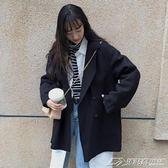 秋冬女裝新款韓版中長款BF風寬鬆外套赫本風休閒子大衣  潮流前線