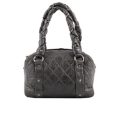 【CHANEL】銀釦箱型小羊皮手提包(灰色) CH12000063
