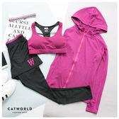 Catworld 潮感花紗。BRA背心加外套長褲運動套裝三件組 【16600202】‧S/M/L/XL