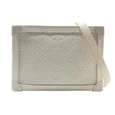 【台中米蘭站】全新品 Louis Vuitton 全皮壓紋 SOFT TRUNK 軟箱斜背包(M53287-白)