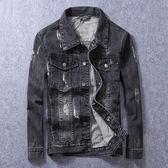牛仔外套-做舊有型時尚經典磨破男丹寧夾克73rj17【巴黎精品】