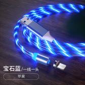 數據線 磁吸蘋果流光充電線磁性安卓type-c跑馬燈華為手機發光數據線