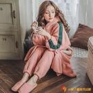 哺乳居家服月子服孕婦睡衣秋冬珊瑚絨產婦產后懷孕期衣加絨加厚大碼媽媽【小獅子】