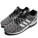 adidas 休閒慢跑鞋 ZX Flux 黑 白 基本款 編織 雪花 黑白 男鞋【PUMP306】 BB2166