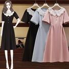 洋裝 娃娃領連身裙 中大尺碼M-4XL胖mm輕熟風優雅小黑裙3F141.1228 胖胖唯依