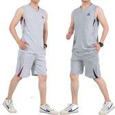 夏季加肥加大碼籃球服套裝男大學生運動青年無袖寬鬆印花健身背心【尾牙交換禮物】