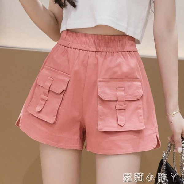 牛仔短褲女2021年夏季新款松緊高腰顯瘦百搭寬松闊腿A字熱褲子潮 蘿莉新品