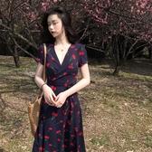 碎花雪紡洋裝子夏季女裝新款大碼胖mm夏天顯瘦桔梗法式長裙 錢夫人