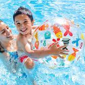 繽紛聖誕 新款INTEX充氣沙灘球兒童戲水玩具球泳池水球手球環保無毒