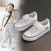 小雛菊兒童帆布鞋年夏季新款女童網鞋網面透氣小白板鞋中大童 快速出貨