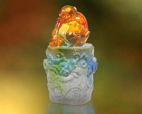 鹿港窯-居家開運水晶琉璃吉祥印章【封侯掛印 】文鎮 玉璽◆附精美包裝◆免運費送到家