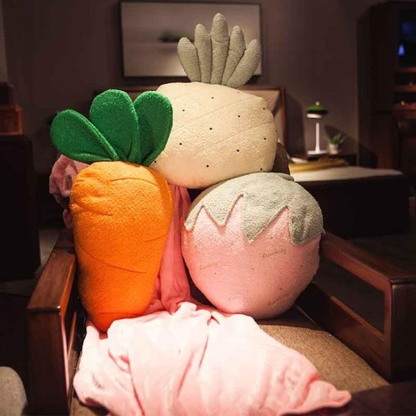 北歐風胡蘿卜抱枕被子兩用多功能個性可愛午睡枕空調毯女汽車