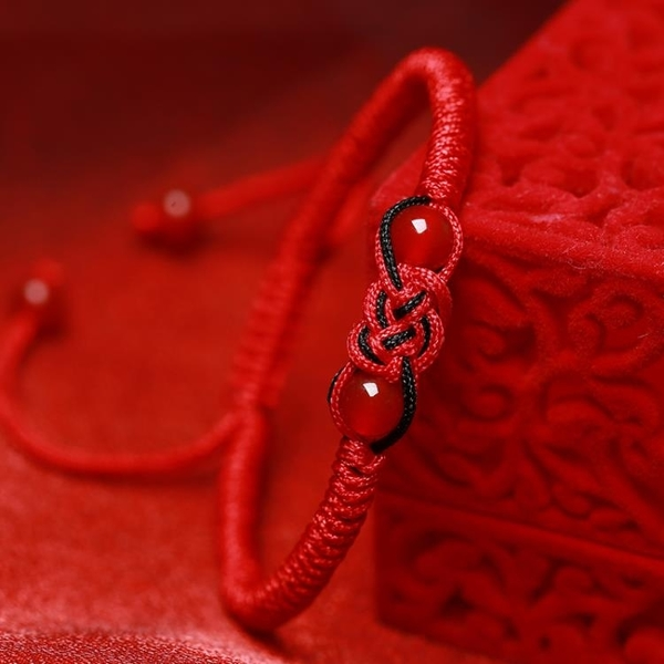 男士手鏈 手工編織本命年紅繩手鏈男士款女情侶時尚轉運珠新年禮物瑪瑙【快速出貨八折下殺】