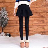 2018冬天少女大童加厚加絨打底裙褲假兩件韓版高中學生花苞緊身裙 夢曼森居家家