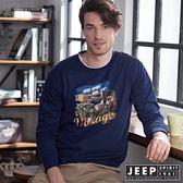 【JEEP】美式手繪吉普車圖騰長袖TEE (海軍藍)