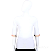 BURBERRY 白色經典格紋反褶七分短袖上衣 1340717-20