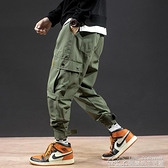 軍綠色工裝褲男士牌寬鬆機能風束腳褲魔術貼收腳 【全館免運】