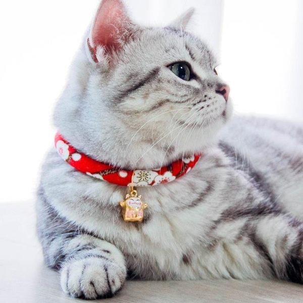 和風項圈貓咪項圈貓鈴鐺狗脖套貓頭套頸圈脖圈貓繩子項鍊貓咪用品