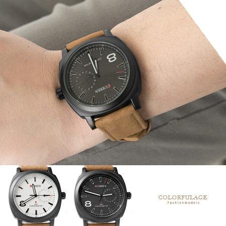男錶推薦 經典8號時尚都會品味質感麂皮軍錶 仿日期圈夜光指針手錶【NE1390】單支售價