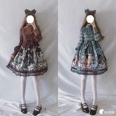 洋裝-秋冬日系軟妹洛麗塔畸形秀lolita洋裝暗黑哥特風復古日常OP連身裙-奇幻樂園