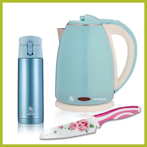 鍋寶不銹鋼快煮壺(藍) 送超真空保溫杯(藍)+玫瑰刀
