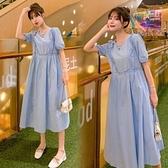 漂亮小媽咪 洋裝 【D1688】 詮釋優雅 泡泡袖 純色 長裙 短袖 孕婦裝 洋裝 長洋裝 腰部 抽繩 可調整