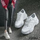 PAPORA時尚休閒厚底老爹布鞋K1902白/米(偏小)