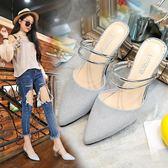 知蓮2018夏季新款百搭涼鞋女粗跟兩穿尖頭穆勒鞋高跟包頭半拖涼拖.