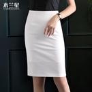 開叉半身裙夏新款白色工作裙包臀短裙商務氣質職業包裙高腰西裝群【快速出貨】