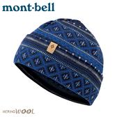 【Mont-Bell 日本 Merino Wool JacquardWarm保暖提花帽《墨水藍》】1118236/羊毛帽/針織帽