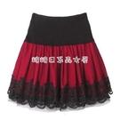 四季新款蕾絲網紗半身裙松緊高腰短裙大碼蓬蓬百褶裙跳廣場舞女裙