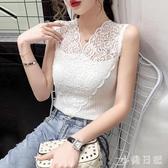 2020夏季新款修身蕾絲衫女心機鏤空外穿無袖小背心V領上衣CH1495【小美日記】
