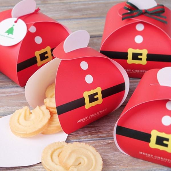 【BlueCat】聖誕節老公公金邊皮帶糖果盒 西點盒 餅乾盒 喜糖盒