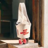 【可收納】厚版 帆布 手提杯袋 環保飲料杯袋 手搖杯套 飲料提袋 -  胚布白