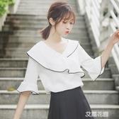 2020夏季新款荷葉邊喇叭短袖白T恤女寬鬆半袖露鎖骨V領上衣『艾麗花園』