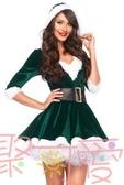 聖誕節聖誕老人服裝性感V領成人冬衣女裙【聚可愛】