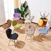 靠椅奶茶店桌椅電腦椅化妝椅子靠背現代簡約創意家用布藝凳子WY