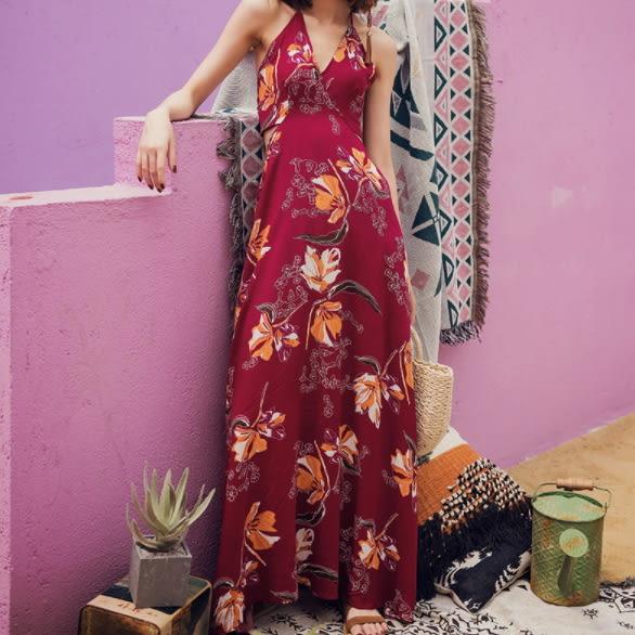 梨卡★現貨 - 波西米亞泰國度假性感印花後綁帶露背連身裙連身長裙沙灘裙洋裝C6318