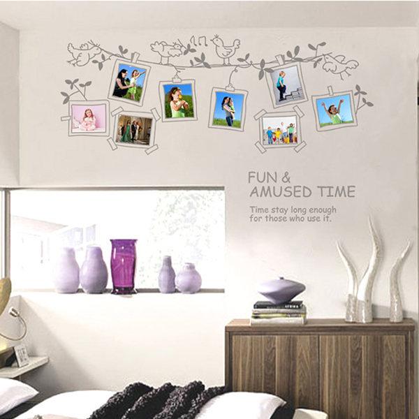 BO雜貨【YV0554】DIY可重複貼 時尚壁貼 牆貼壁紙 壁貼紙 創意璧貼 灰色鳥相框JM7143