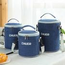 保溫袋 圓形保溫飯盒袋保溫袋大號加厚鋁箔手提便當包上班帶飯包包保溫包-Ballet朵朵