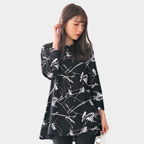 休閒洋裝--個性風撞色不規則線條印花A字修身圓領長袖連衣裙(黑XL-3L)-A387眼圈熊中大尺碼