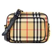 【南紡購物中心】BURBERRY 經典格紋棉質皮革飾邊前口袋肩背相機包(卡其)