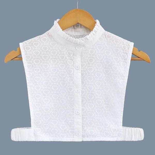 假領子假領片韓版假衣領T恤 立領緹花 帽T洋裝襯衫針織大學T外套內搭白色[E1445]預購.朵曼堤洋行